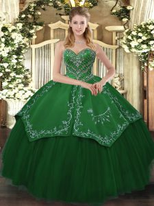 Shining Green Taffeta and Tulle Lace Up Sweetheart Sleeveless Floor Length Sweet 16 Dress Beading and Pattern