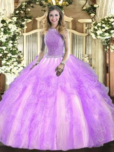 Lavender Tulle Lace Up Sweet 16 Dresses Sleeveless Floor Length Beading and Ruffles