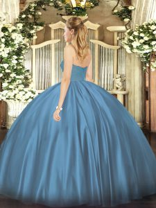Latest Ruching Quinceanera Dress Teal Zipper Sleeveless Floor Length