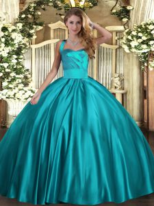 Ball Gowns Quinceanera Dresses Teal Halter Top Satin Sleeveless Floor Length Lace Up