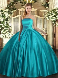 Sophisticated Teal Ball Gowns Strapless Sleeveless Satin Floor Length Lace Up Ruching Vestidos de Quinceanera