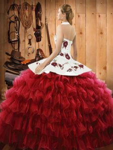 Satin and Organza Halter Top Sleeveless Lace Up Embroidery and Ruffled Layers Quinceanera Gown in Rust Red