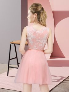 Great Tulle Sleeveless Mini Length Quinceanera Dama Dress and Lace
