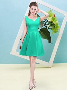 Sleeveless Satin Mini Length Zipper Dama Dress for Quinceanera in Turquoise with Ruching