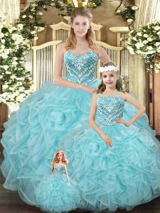 Best Selling Aqua Blue Quinceanera Dress Military Ball and Sweet 16 and Quinceanera with Beading and Ruffles Sweetheart Sleeveless Lace Up