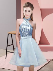 Pretty Mini Length A-line Sleeveless Light Blue Court Dresses for Sweet 16 Backless