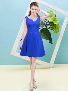 Asymmetric Sleeveless Zipper Dama Dress for Quinceanera Blue Satin