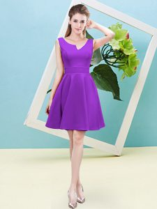 Eggplant Purple A-line Satin Asymmetric Sleeveless Ruching Mini Length Zipper Quinceanera Dama Dress