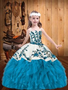 Baby Blue Ball Gowns Organza Straps Sleeveless Embroidery and Ruffles Floor Length Lace Up Little Girl Pageant Gowns