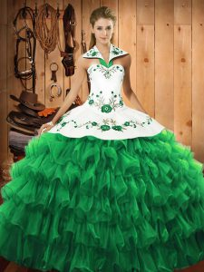 Beauteous Green Halter Top Neckline Embroidery and Ruffled Layers Quinceanera Gowns Long Sleeves Lace Up