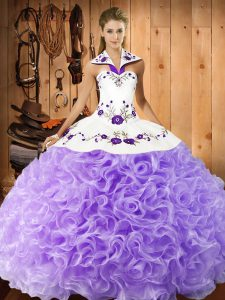Embroidery 15 Quinceanera Dress Lavender Lace Up Sleeveless Floor Length