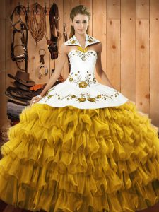 Gold Sleeveless Floor Length Embroidery and Ruffled Layers Lace Up Quinceanera Dress