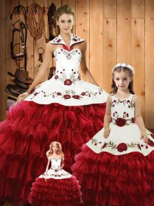 Wine Red Ball Gowns Embroidery and Ruffles Ball Gown Prom Dress Lace Up Tulle Sleeveless Floor Length