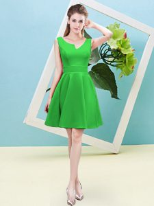 Adorable Green A-line Asymmetric Sleeveless Satin Mini Length Zipper Ruching Quinceanera Court Dresses