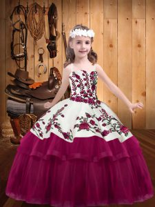 Dazzling Embroidery Child Pageant Dress Fuchsia Lace Up Sleeveless Floor Length