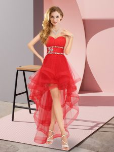 Red Sleeveless Beading High Low Dama Dress