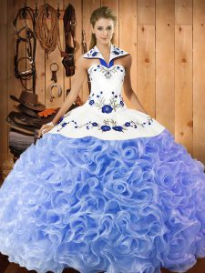 Fabulous Lavender Ball Gowns Halter Top Sleeveless Fabric With Rolling Flowers Floor Length Lace Up Embroidery Quince Ball Gowns