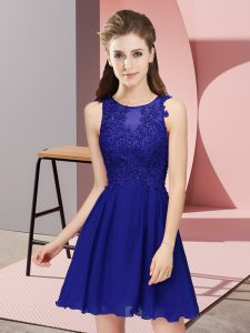 Sumptuous Sleeveless Chiffon Mini Length Zipper Dama Dress in Royal Blue with Appliques