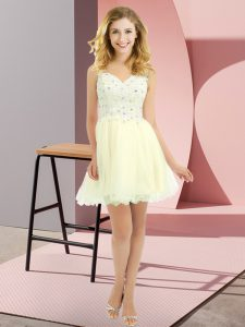 Cheap Empire Quinceanera Court of Honor Dress Light Yellow V-neck Tulle Sleeveless Mini Length Lace Up