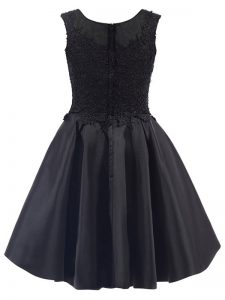 Black Sleeveless Mini Length Lace Zipper Court Dresses for Sweet 16