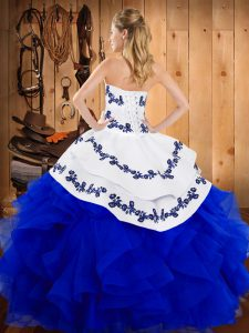 Floor Length Yellow And White 15 Quinceanera Dress Strapless Sleeveless Lace Up
