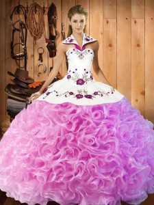 Rose Pink Lace Up Halter Top Embroidery 15 Quinceanera Dress Fabric With Rolling Flowers Sleeveless