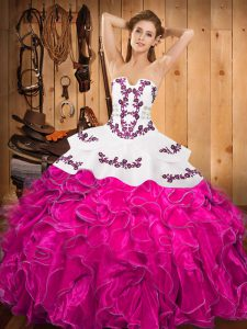 Deluxe Sleeveless Satin and Organza Floor Length Lace Up 15 Quinceanera Dress in Fuchsia with Embroidery and Ruffles