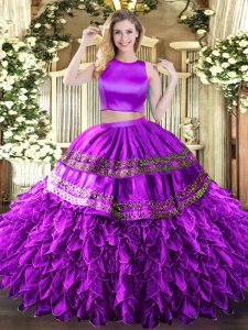 Great Eggplant Purple High-neck Neckline Ruffles and Sequins Quinceanera Dress Sleeveless Criss Cross