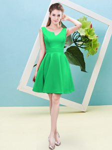 Amazing Green Zipper Asymmetric Ruching Dama Dress for Quinceanera Satin Sleeveless