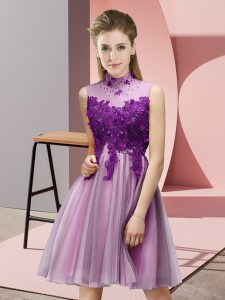 Edgy Knee Length Lace Up Dama Dress for Quinceanera Lilac for Prom and Party and Wedding Party with Appliques