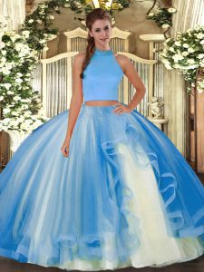 Fashion Sleeveless Tulle Floor Length Backless Sweet 16 Dresses in Light Blue with Beading and Ruffles