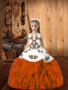 Orange Red Little Girls Pageant Gowns Sweet 16 and Quinceanera with Embroidery and Ruffles Straps Sleeveless Lace Up