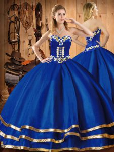 Luxurious Embroidery 15 Quinceanera Dress Blue Lace Up Sleeveless Floor Length
