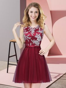Inexpensive Burgundy Sleeveless Lace Mini Length Quinceanera Dama Dress