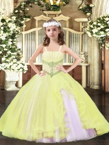 High End Light Yellow Sleeveless Tulle Lace Up Girls Pageant Dresses for Party and Quinceanera