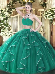Turquoise High-neck Backless Beading and Ruffles Sweet 16 Quinceanera Dress Sleeveless
