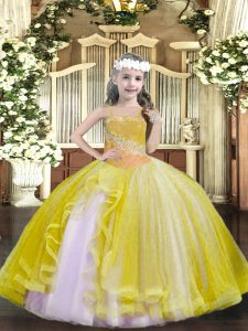 Floor Length Light Yellow Little Girl Pageant Gowns Straps Sleeveless Lace Up