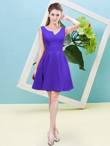Trendy Sleeveless Mini Length Ruching Zipper Dama Dress with Purple