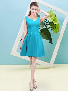 Beauteous Aqua Blue Sleeveless Satin Zipper Quinceanera Court Dresses for Prom and Party and Wedding Party