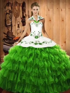 Lovely Sleeveless Satin and Organza Floor Length Lace Up Quinceanera Gown in with Embroidery and Ruffled Layers