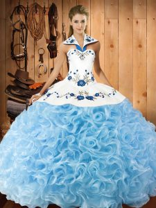 Popular Baby Blue Halter Top Lace Up Embroidery Sweet 16 Quinceanera Dress Sleeveless