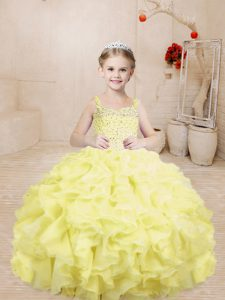 Light Yellow Ball Gowns Beading and Ruffles Little Girl Pageant Dress Lace Up Organza Sleeveless Floor Length
