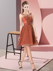 Scoop Sleeveless Dama Dress for Quinceanera Knee Length Appliques Rust Red Chiffon
