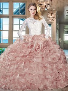 Great Pink And White Ball Gown Prom Dress Sweet 16 and Quinceanera with Lace and Ruffles Scoop Long Sleeves Brush Train Lace Up