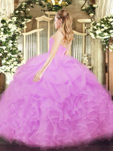 Extravagant Light Yellow Organza Lace Up Quinceanera Dresses Sleeveless Floor Length Beading and Ruffles