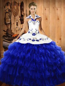 Graceful Royal Blue Sleeveless Floor Length Embroidery and Ruffled Layers Lace Up Quinceanera Gowns