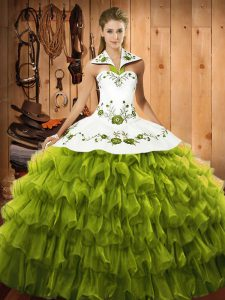 Floor Length Olive Green Sweet 16 Dresses Organza Sleeveless Embroidery and Ruffled Layers
