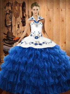 Cute Organza Halter Top Sleeveless Lace Up Embroidery and Ruffled Layers 15 Quinceanera Dress in Blue