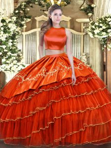 Classical Floor Length Two Pieces Sleeveless Orange Red Quinceanera Gowns Criss Cross