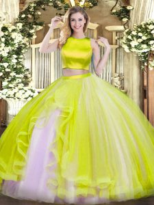 Amazing Yellow Green Two Pieces Tulle High-neck Sleeveless Ruffles Floor Length Criss Cross Ball Gown Prom Dress
